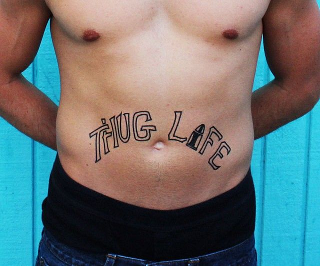 Let everyone know what a hardcore thug you are without the life long commitment of a real tattoo with these full size Thug Life temporary tattoos. Included in this pack are four thuggish temporary tattoos, enough for you and your crew of true to the street homies.