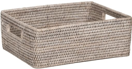 Neptune Ashcroft Medium Rectangular Box Tray, Chalked Rattan