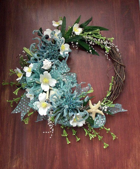 Stunning grapevine beach wreath nautical wreath by UptownGirlzz,