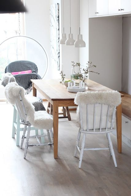 Love the sheepskin rug idea to put on the computer chairs