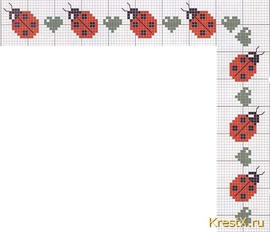 Lady bug cross stitch border: