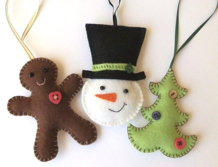 Felt Christmas Tree Ornaments Set of 3:  Gingerbread Man, Snowman, Tree. $20.00, via Etsy.