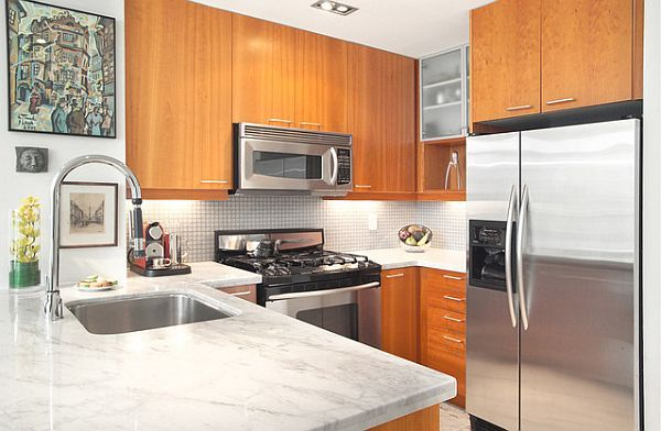 white marble island, white tile backsplash, wood cabinets (exactly same as current layout) Small condo kitchen remodel