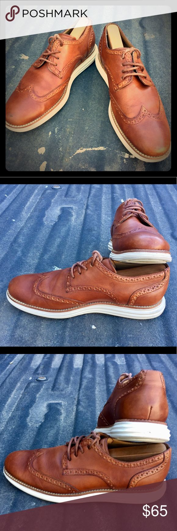 Cole Haan Luna Grand Wingtip Oxfords Cole Haan Luna Grand Wingtip Oxfords  Make: Cole Haan Model: Luna Grand Wingtips Color: Saddle Tan/Cream White Size: 8 men's Condition: 9/10, -1 for no tags or box  VERY lightly worn, SUPER comfortable, Modern Wingtips. Cole Haan Shoes Oxfords & Derbys