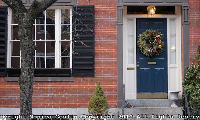 White House Blue Shutters Gray Door