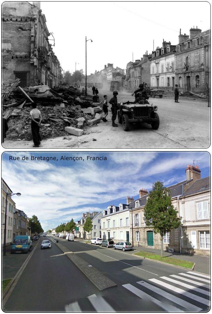 rue de bretagne alen on normandia normandia1944 2a guerra mondiale then and now pinterest. Black Bedroom Furniture Sets. Home Design Ideas