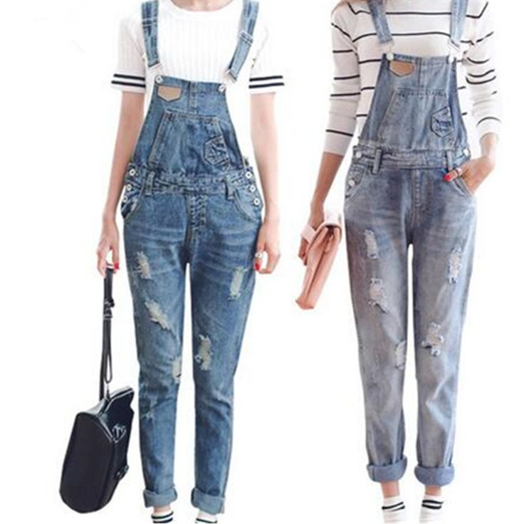 Womens Jumpsuit Denim Overalls Spring Autumn Casual Ripped Hole Loose Pants Ripped Pockets Jeans Coverall XL WT00194