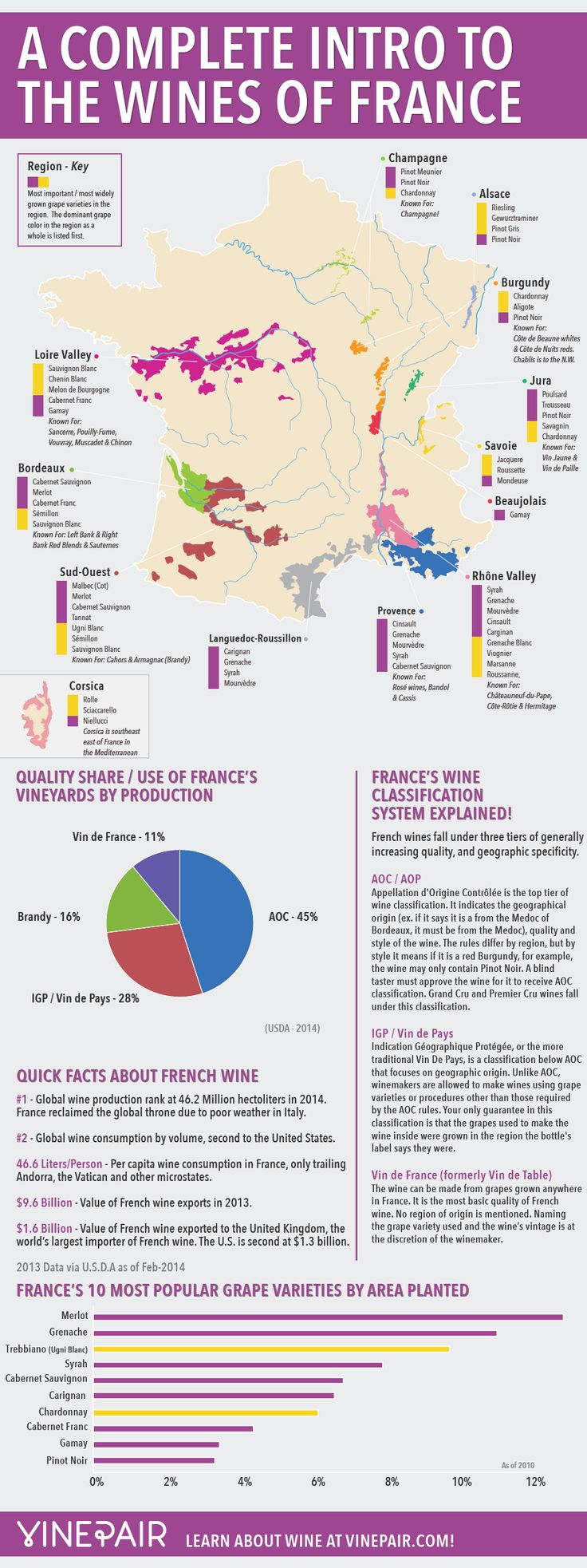 A Complete Introduction To The Wines Of France - This infographic and map is your complete guide to France's wines, including the major regions, the grapes that grow there, and their famous blends, along with general facts. [Infographic, Food, Drink, Wine, #NerdMentor]