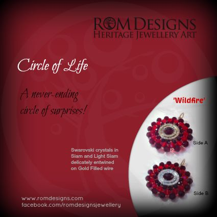 Rom Designs Circle of Life - Swarovski crystals in Light and Dark Siam delicately entwined on Gold Filled Wire.  We call her Wildfire! Come join us on Facebook https://www.facebook.com/romdesignsjewellery