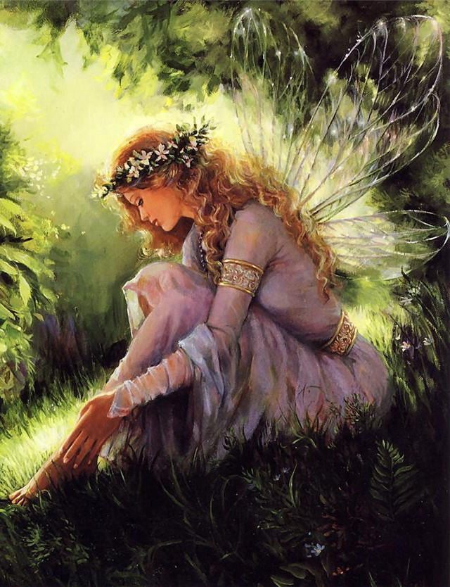 Pondering...Mary Baxter St. Clair (cropped for detail)...#fantasy #fairy #art