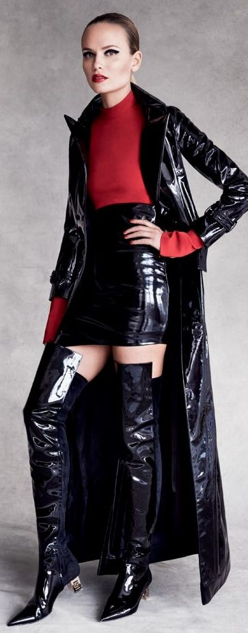 Black shiny patent leather skirt jacket thigh boots fashion outfit.