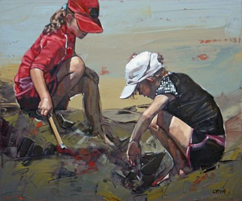 """""""You can discover more about a person in an hour of play than in a year of conversation."""" Richard Lingard  'Treasure Hunt III' painting by Claire McCall"""