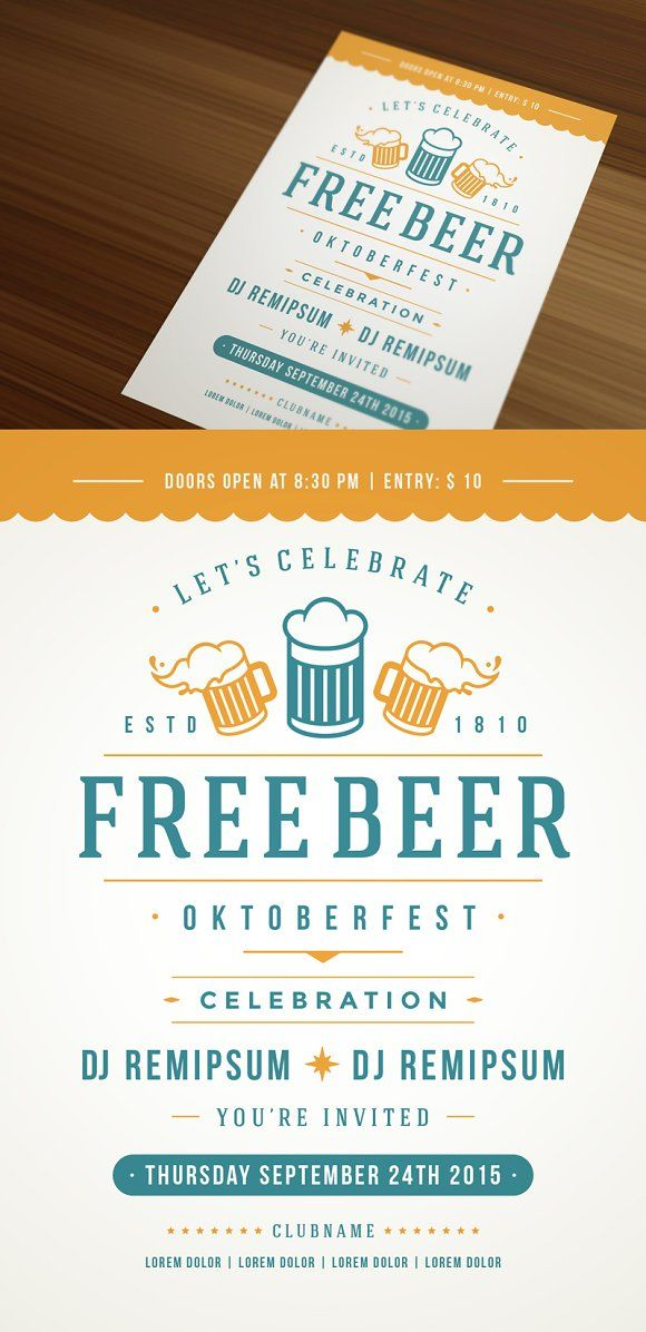 Best Beer Day Party Flyer Templates Images On