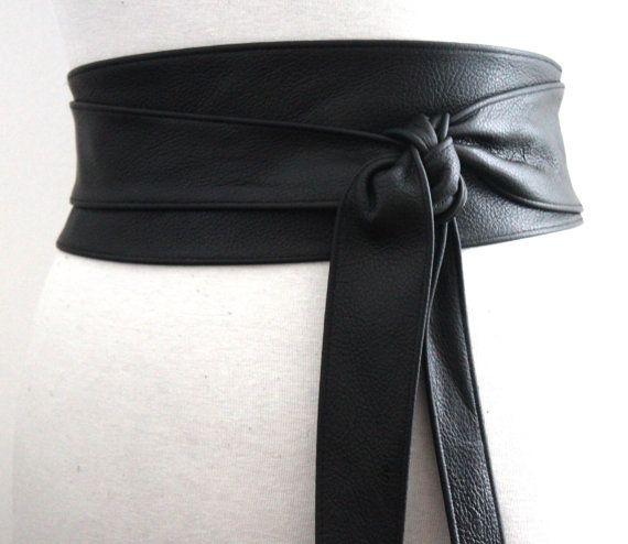 Black Obi Belt Leather Belt Waist Tie belt Leather by LoveYaaYaa