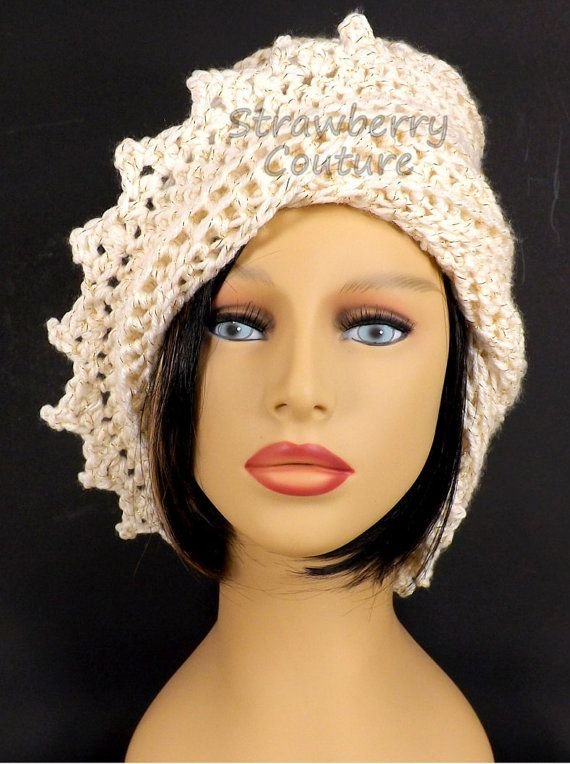 Ivory Crochet Hat Womens Hat Womens Crochet Hat Crochet Beanie Hat Ivory Sparkle Hat Ivory Hat African Hat LAUREN Beanie Hat for Women by strawberrycouture by #strawberrycouture on #Etsy