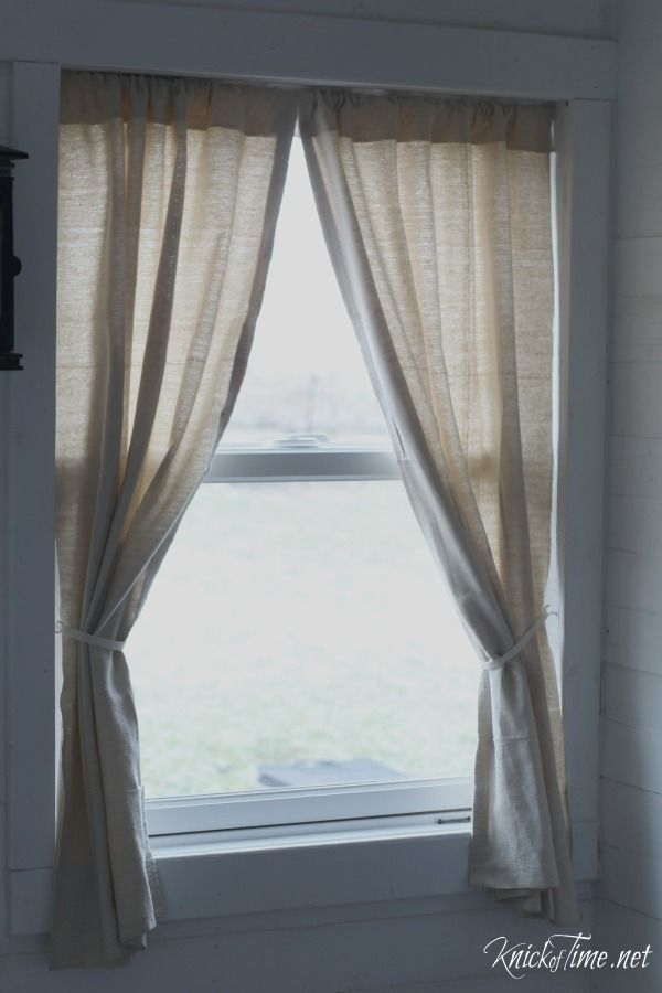 Drop Cloth Curtains for My Entryway NoSew Version