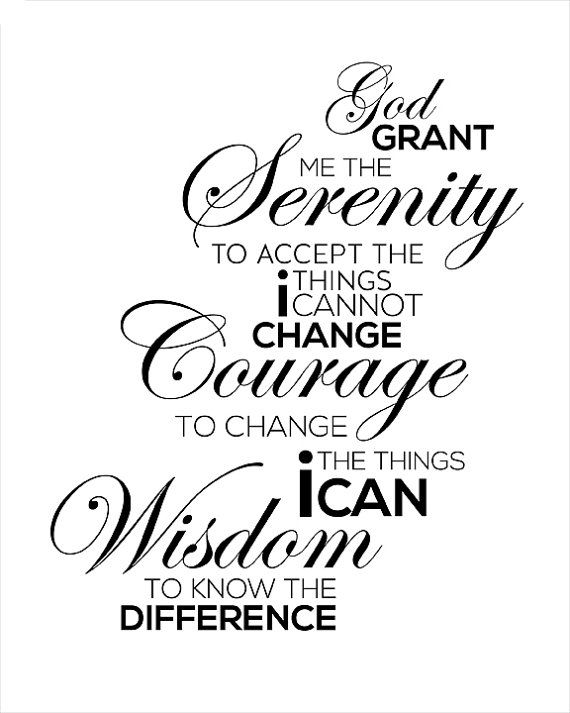 aa recovery - Serenity Prayer - Typography art print - 8x10