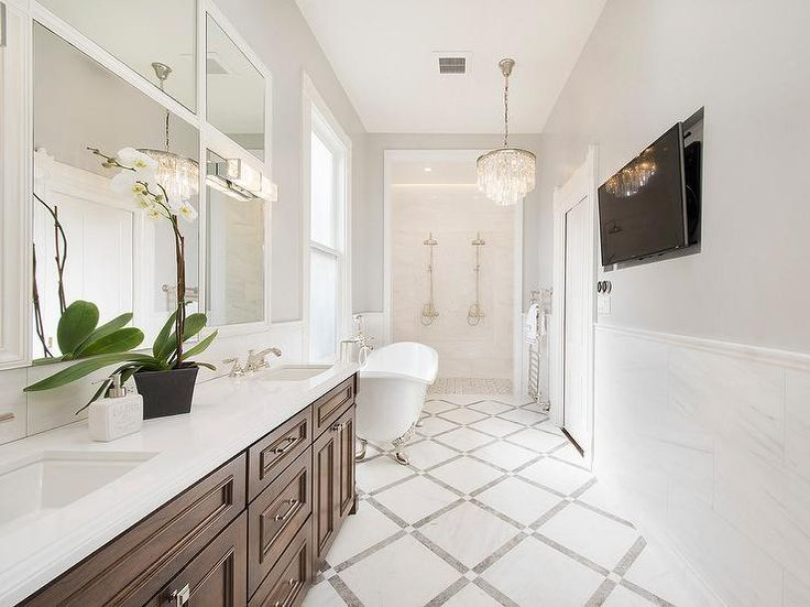 designed long bathrooms. Mahogany Stained Washstand with Snow White Marble Tile Floor  Transitional Bathroom Kelly Moore Gray Spell 1788 best b a t h r o m s images on Pinterest Bathrooms Master