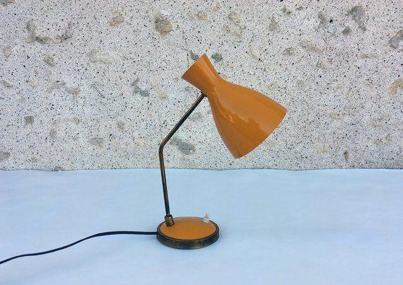 Vintage Diabolo Desk Lamp Yellow Lamp 50s 60s Lampe De Bureau Bureau Jaune Lamp