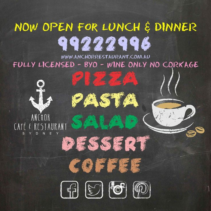 ⚓ ANCHOR Cafe & Restaurant - Taste the difference!  #coffee #tea #chalk #chalkboard #blackboard #anchor #anchorcafe #anchorrestaurant #anchorestaurant #pizza #pasta #salads #salad #desserts #dessert #drinks #wine #beer #wineanddine #redwine #whitewine #milsonspoint #kirribilli #restaurants #cafes #restaurant #dessert #food #desserts #yum #yummy #amazing #instagood #instafood #sweet #chocolate #cake #icecream #dessertporn #delish #foods #delicious #tasty #eat #eating #hungry #foodpics…