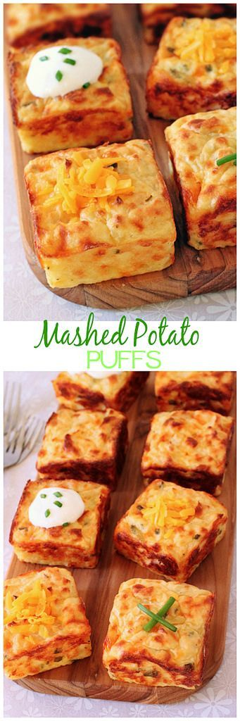 Purê de batata pufes | Purê de batatas obter um novo sopro de vida com a ajuda de cheddar, creme de leite, cebolinha e um pan muffin! cinnamonspiceandeverythingnice.com