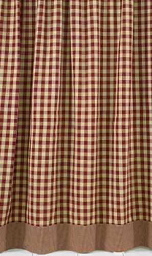 Captivating New Primitive Country Bathroom YORK BURGUNDY TAN CHECK Shower Curtain