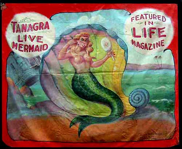 Tanagra — Live Mermaid: Tanagra Living, Circus Freak, Banners Art, Man Circus, Living Mermaids, Mermaids Sideshow, Magazines Sideshow Banners, Fred Johnson, Sideshow Art