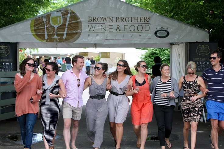 Friends having a fine time with Prosecco at the Brown Brothers Wine and Food festival.