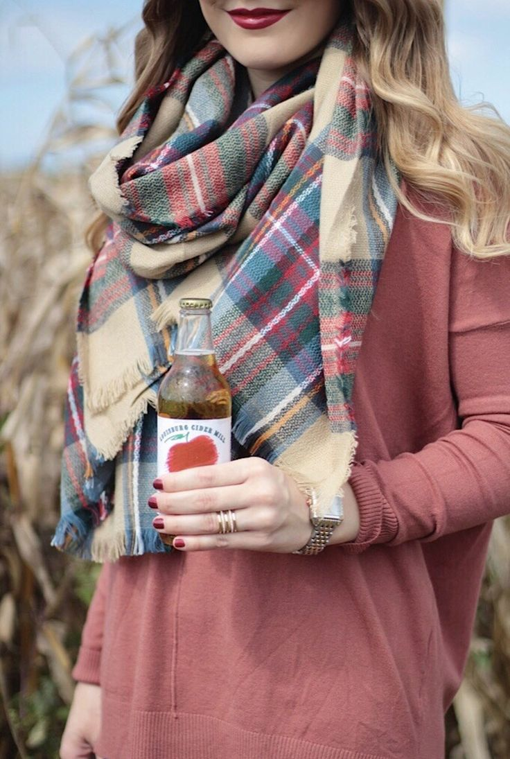 Hello October, Rachel Puccetti Between Two Coasts, Pumpkin Patch, Fall style, Sweater weather, plaid blanket scarf, apple cider, kansas city louisburg cider mill