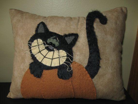 Whimsical Black Kitty Cat & Pumpkin Pillow by Justplainfolk
