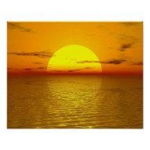 Zen #Sunset Orange Yellow Ocean Love Peaceful Harmony #Relaxed #Poster