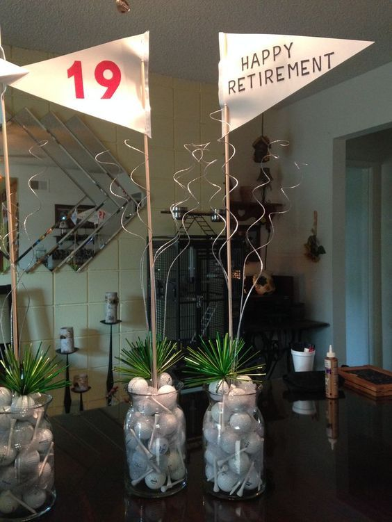 Golf themed centerpieces perfect for a golfer's party! Click here for more: