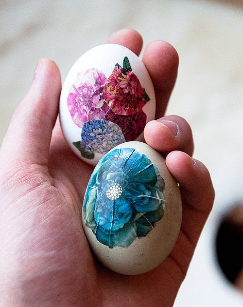 decoupaged eggs at our easter egg decorating party