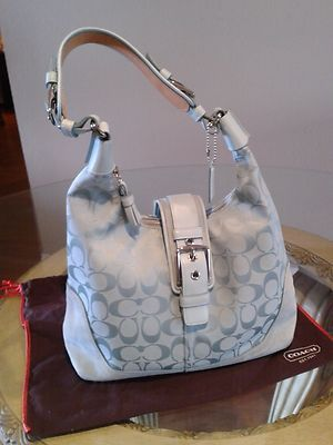Coach Signature Soho Hobo Light Blue Suede And Jacquard Purse Shoulder Bag I Purses Pinterest Bags