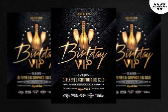 BIRTHDAY VIP Flyer Template by WG-VISUALARTS on @creativemarket