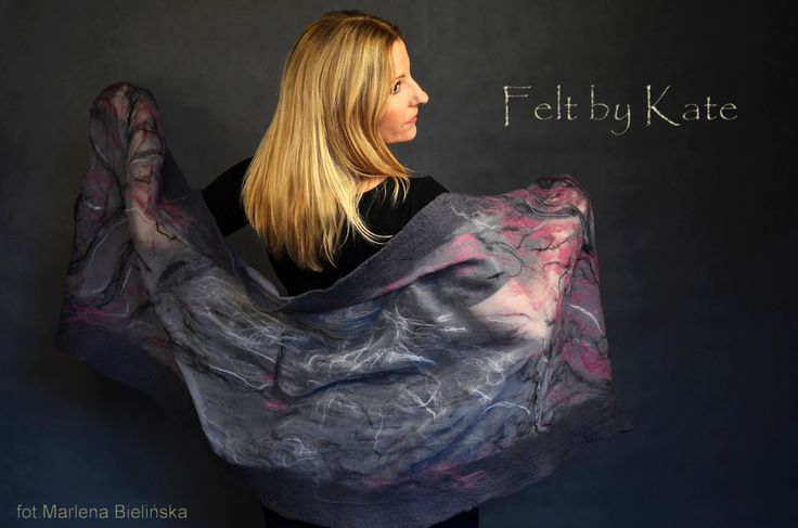 "Elegant shawl. Made of merino wool felted on silk. ""Felt by Kate"" https://www.facebook.com/FeltbyKate/"