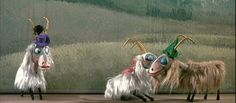 A still from the film. A cute scene of love among male and female goats