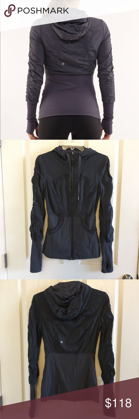 Lululemon Dance Studio Jacket Lululemon dance studio jacket size 6 in coal (Google color or look at 1st stock photo for color representation)  excellent condition however INSIDE the right pocket there is a little bit of pilling from a Velcro heart rate monitor strap that does not affect the aesthetic or function. outside is in excellent used condition. lululemon athletica Jackets & Coats