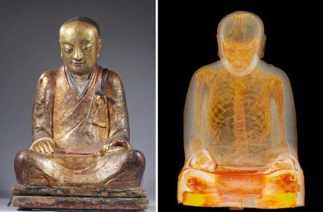 Uma estátua de Buda, com idade estimada de mil anos, revelou ter um monge mumificado em seu interior. Pesquisadores do Museu Drents, na Holanda, fizeram a descoberta no ano passado - e agora endoscopias mostraram que os órgãos vitais da múmia foram substituídos por papéis cobertos com palavras em Chinês.
