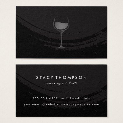 Artistic Brushed Black Wine Glass Business Card - black gifts unique cool diy customize personalize