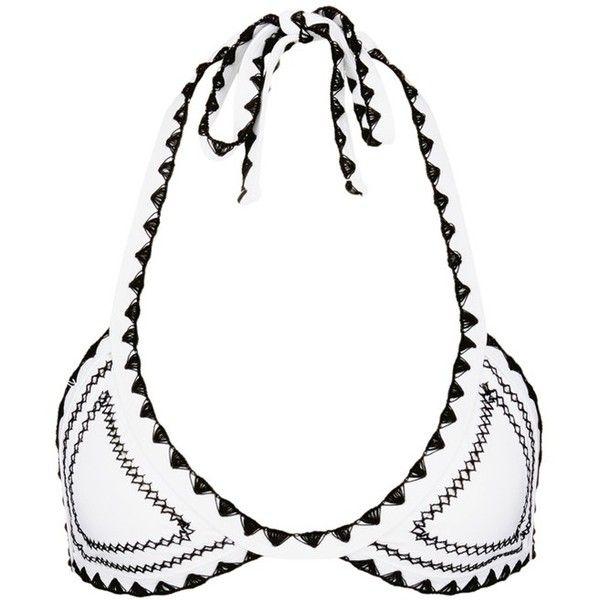 Same Swim 'The Catch' stitched triangle bikini top (3,660 MXN) ❤ liked on Polyvore featuring swimwear, bikinis, bikini tops, white, triangle swimwear, white swim top, white tankini top, tankini swim tops and white bikini