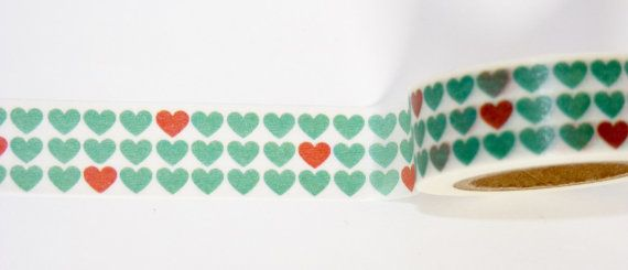 Washi Tape roll Hearts scrapbooking planner supplies Gift  decoration baby shower  invitation kid fun