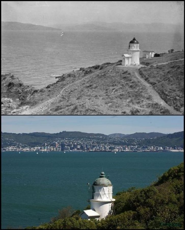 the lighthouse on SOMES ISLAND - 1915 & 2010 - now called by it's original name, Matiu Island - Old Wellington Region 17 Oct 2016