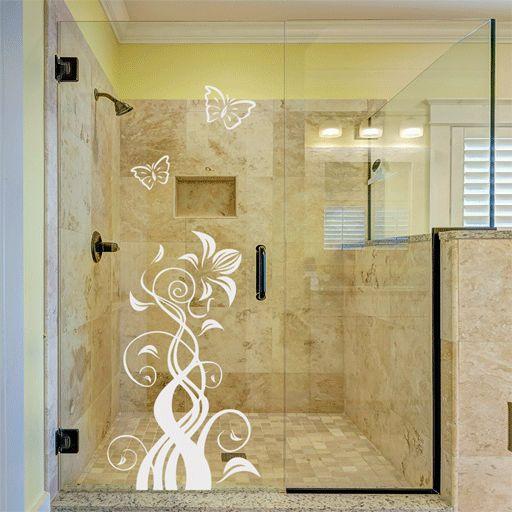 Vinilo translúcido con motivos florales y mariposas. Es perfecto para decorar superficies acristaladas como mamparas, puertas o ventanas.