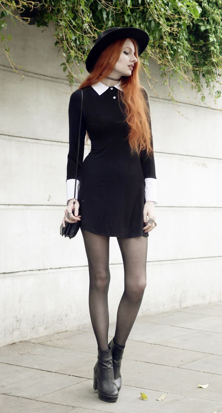 Black dress, stockings, chunky ankle boots, and a fedora - http://ninjacosmico.com/11-ways-wear-black-dresses-summer/