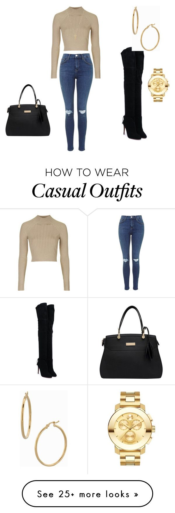 """Casual date night attire "" by dijonaiseh on Polyvore featuring Aquazzura, Topshop, Bony Levy, Movado and Gucci"