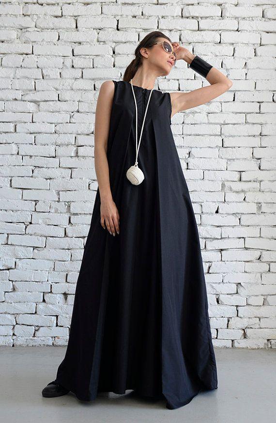 Negro Maxi vestido blando largo vestido/Plus tamaño vestido