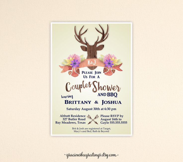 couples wedding shower invitation buck bridal shower invite couples bbq shower stag and