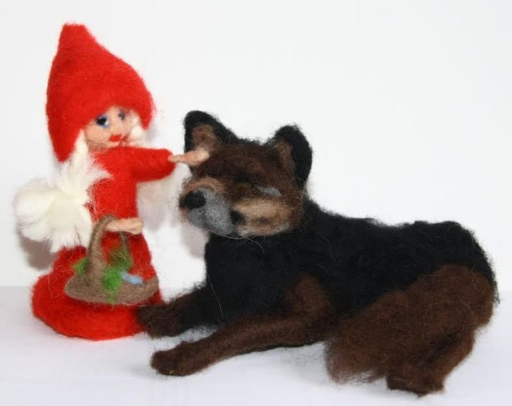 Little Red Riding Hood and the Wolf  needle felted miniature beautiful gift #nutka_art #AllOccasion