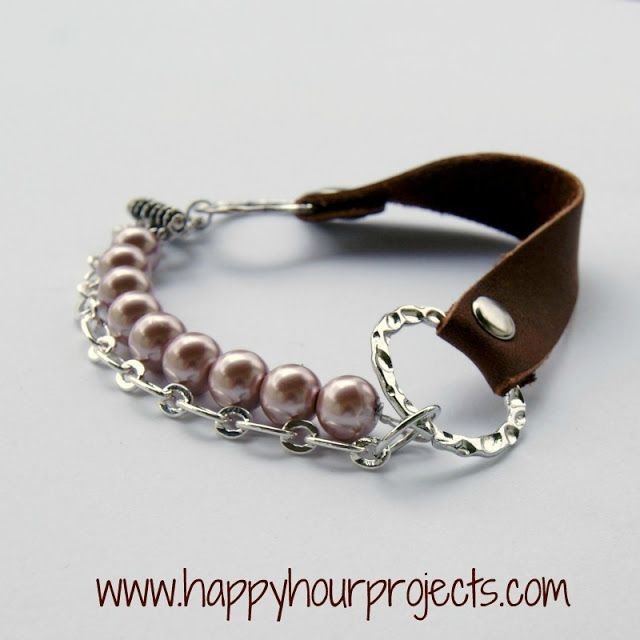 DIY Mixed Media Leather Bracelet Tutorial from Happy Hour Projects
